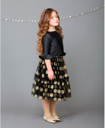 BLACK AND GOLD SKIRT WITH ELASTIC