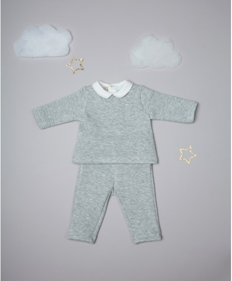 TWO PIECE GREY MELANGE SUIT WITH POINTED COLLAR