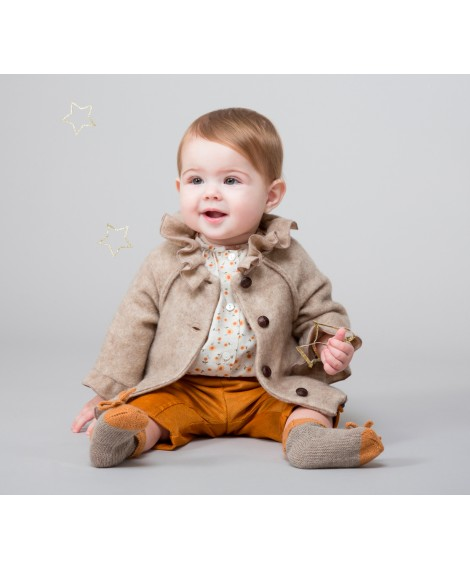 BEIGE JACKET WITH ROUCHING