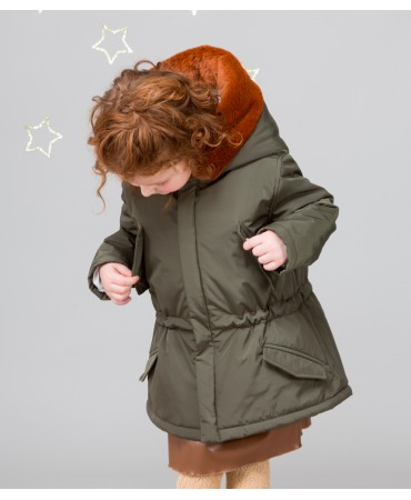 MILITARY GREEN PARKA WITH POCKETS