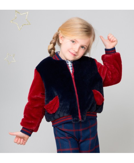 BLUE AND RED BOMBER JACKET WITH POCKETS
