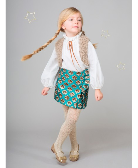 TURQUOISE SKIRT WITH ROUCHING