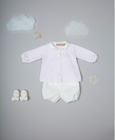 PINK AND CREAM TWO PIECE BABY SET