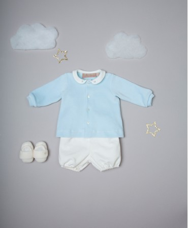 BLUE AND SAND TWO PIECE BABY SET