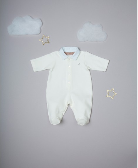 CREAM/LIGHT BLUE EMBROIDERED ONESIE WITH COLLAR