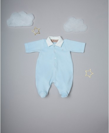 LIGHT BLUE/CREAM  EMBROIDERED ONESIE WITH COLLAR