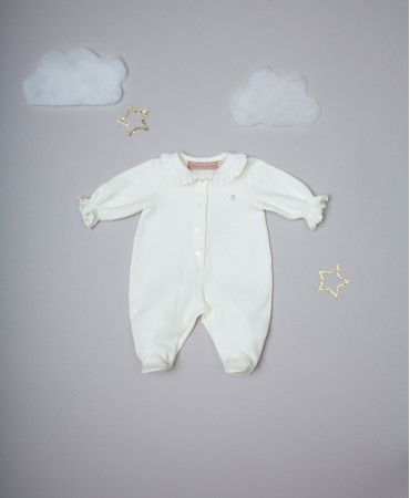 CREAM/PINK EMBROIDERED ONESIE WITH ROUCHED COLLAR