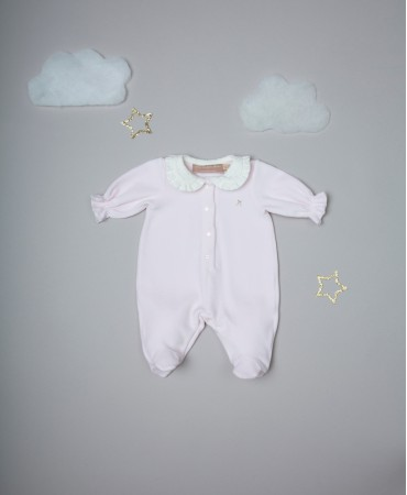 PINK/CREAM EMBROIDERED ONESIE WITH ROUCHED COLLAR