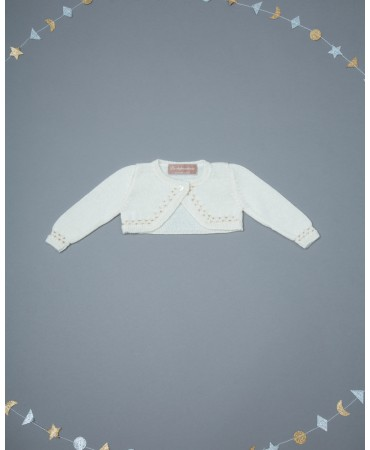 CREAM/GOLDKNITTED BOLERO