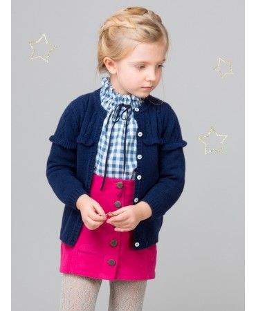 KNITTED BLUE CARDIGAN WITH ROUCHING