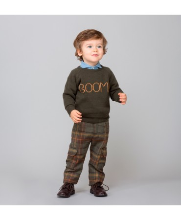 "KNITTED MILITARY GREEN/OCHRE ""BOOM"" JUMPER"
