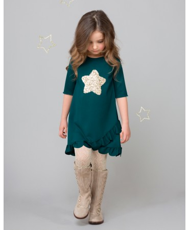 GREEN DRESS WITH GOLD SEQUIN STAR