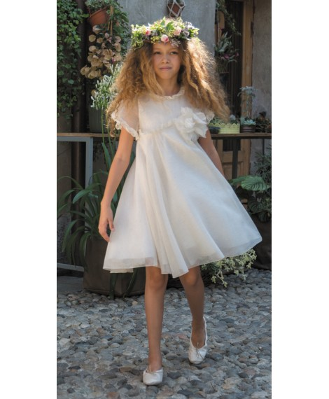 STRIPED ORGANZA DRESS WITH VALENCIENNE LACE AND FLOWER APPLIQUE