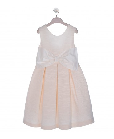 COTTON SILK DRESS WITH ORGANZA BOW BELT AND FLOWER BROOCH