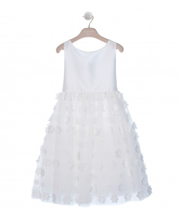 CREAM DRESS WITH FLORAL TULLE APPLIQUE SKIRT