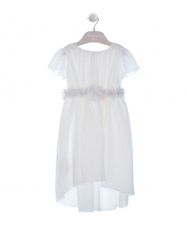 CREAM DRESS WITH FLORAL BELT AND ASYMETRIC HEM