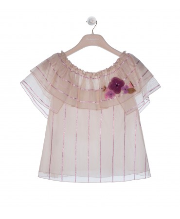 SAND AND LILAC BLOUSE WITH VOLANT AND FLOWER APPLIQUE