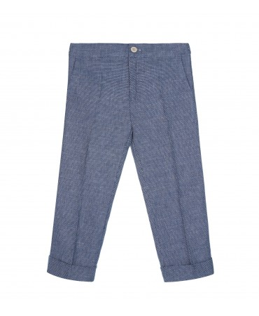CLASSIC BLU TWEED TROUSERS WITH CUFFED HEM