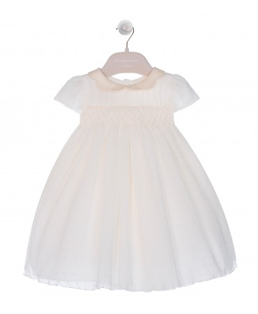SHORT-SLEEVE CREAM DRESS WITH SMOCK EMBROIDERY