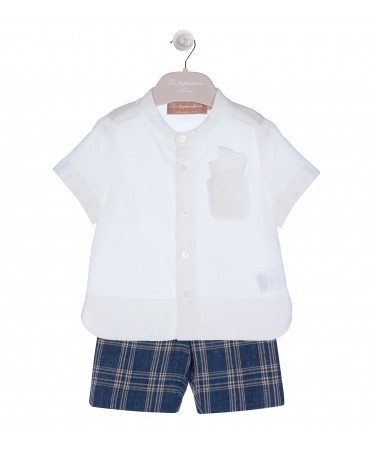BERMUDA SET WITH WHITE SHIRT AND POCKETSQUARE