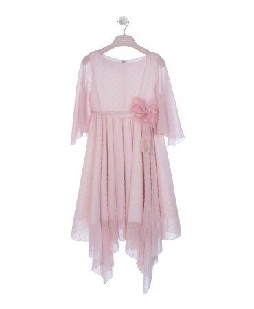 ASYMMETRIC PINK DRESS WITH FLOWER