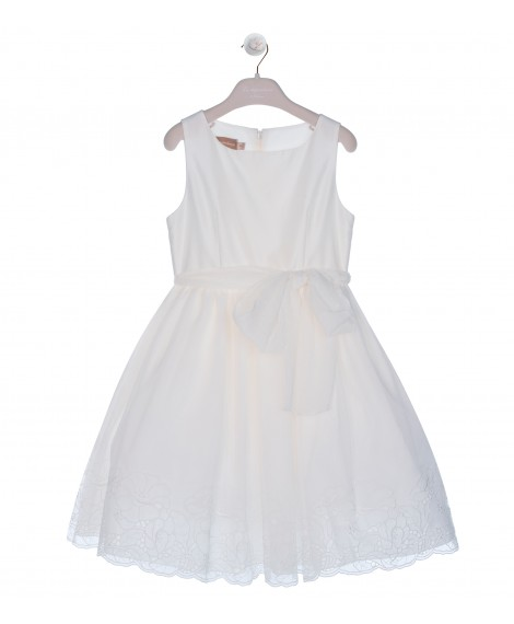CREAM SKIRT DRESS WITH EMBROIDERY JOUR