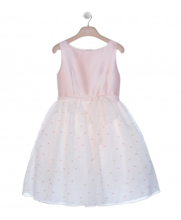 PINK/BEIGE POLKA DOTS DRESS