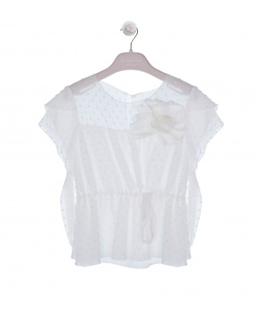 CREAM BLOUSE WITH WING SLEEVES AND FLOWER APPLIQUE