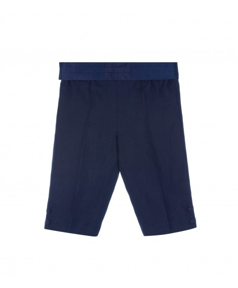BLUE TROUSERS WITH SMOCKING BAND