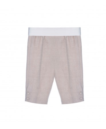 BEIGE TROUSERS WITH SMOCKING BAND