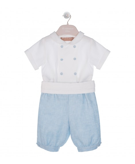 LIGHT BLUE KNICKERBOCKER AND DOUBLE BREASTED CREAM SHIRT SET