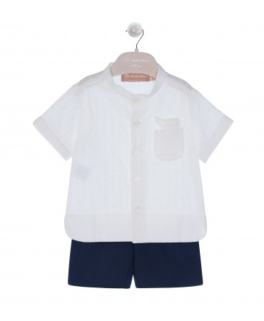 BLUE LINEN BERMUDA WITH CREAM COTTON SHIRT AND POCHETTE