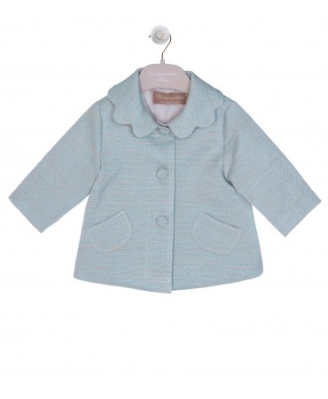 LIGHT BLUE PETAL COLLAR JACKET