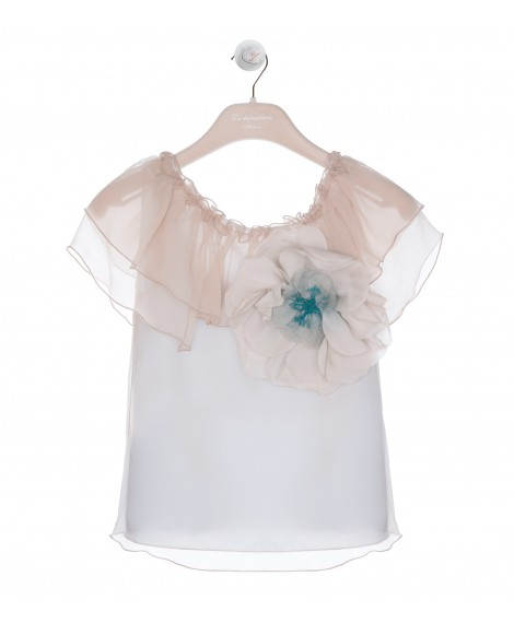 BEIGE BLOUSE WITH VOLANT AND FLOWER APPLIQUE