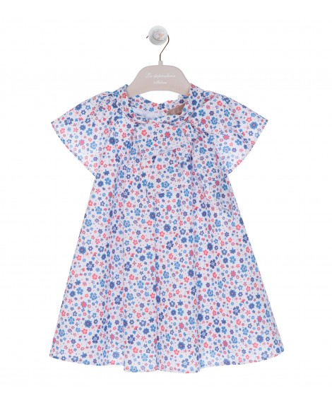 DRESS WITH BLUE FLOREAL PRINT AND BOW