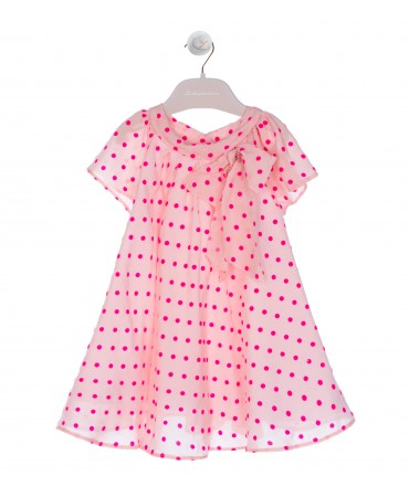 DRESS  WITH BOW AND FUCHSIA POLKA DOT