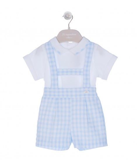 WHITE/LIGHT BLUE OVERALL SET