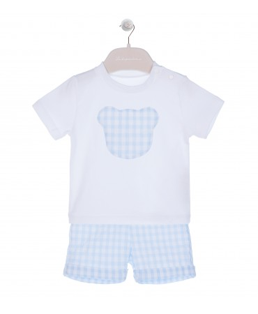 BERMUDA AND T-SHIRT SET WHITE/LIGH BLUE