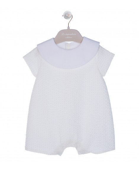IVORY ROMPER WITH ROUND COLLAE
