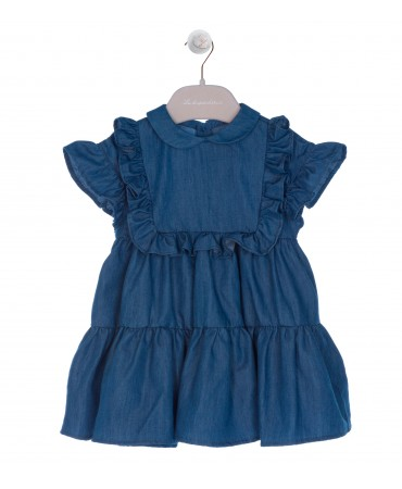 ABITO IN CHAMBRAY BLU CARRE' CON ROUCHE