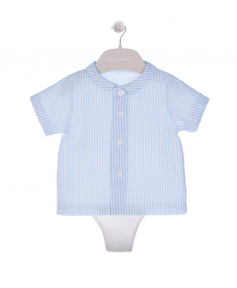 STRIPPED SHIRT LIGHT BLUE/WHITE WITH POINTED COLLAR