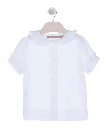 WHITE BLOUSE WITH RUFFLE DETAIL