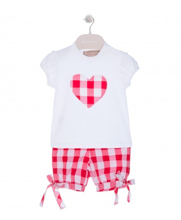 WHITE/RED KNICKERBOCKER AND T-SHIRT SET