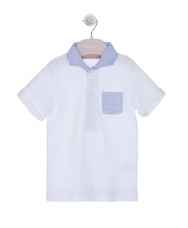 WHITE POLO WITH STRIPPED COLLAR AND NAVY POCKET