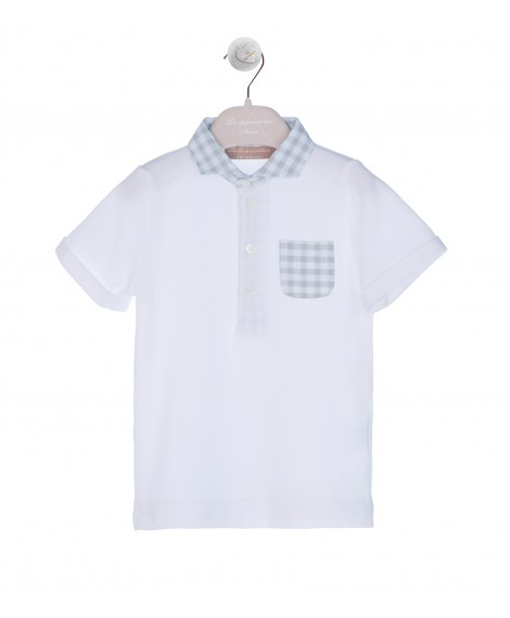 WHITE POLO WITH VICHY COLLAR AND DOVE POCKET