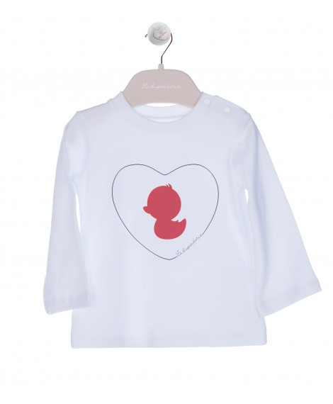 RED PRINT ON WHITE T-SHIRT