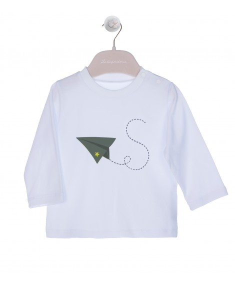 GREEN  PRINT ON WHITE T-SHIRT