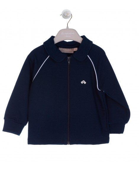 NAVY/WHITE JUMPER WITH ZIP AND CAR BUTTON