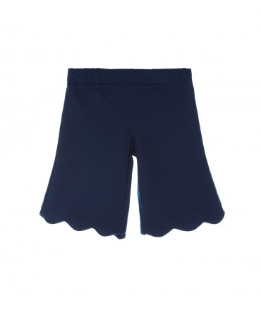 NAVY JERSEY SHORTS WITH SCALLOPED HEM