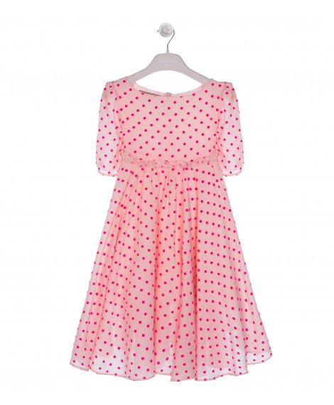 FOLCKED FUCHSIA POLKA DOT CIRCLE DRESS WITH RUFFLES